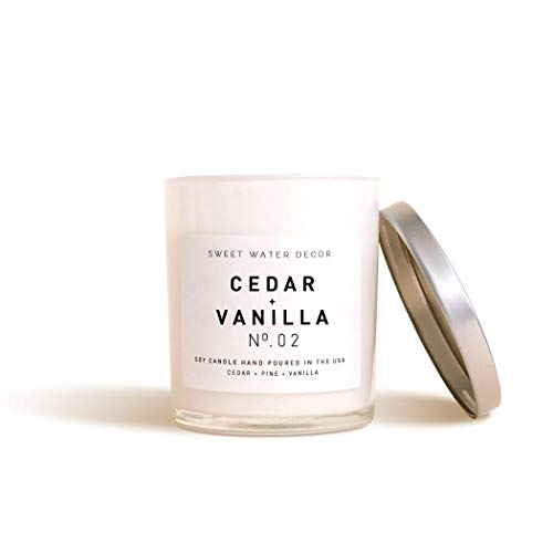 Sweet Water Decor Cedar and Vanilla Natural Soy Wax Candle White Jar Scented Cedarwood Pine Summer Fall Winter Scent Lead Free Cotton Wick French Country Rustic Farmhouse Decor Fragrance Accessory