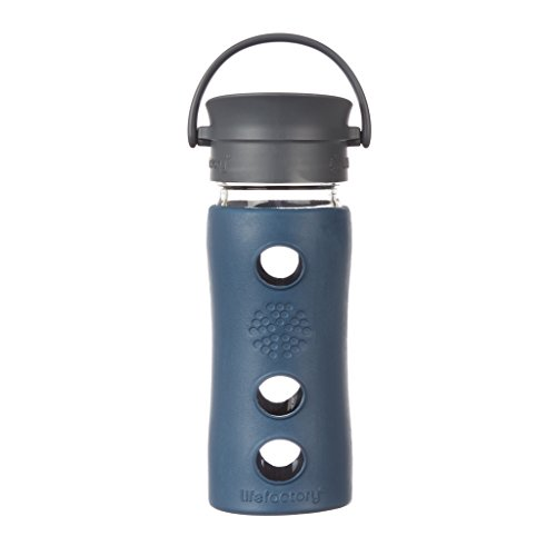 Lifefactory 12-Ounce BPA-Free Insulated Glass Hot Tea and Coffee Travel Mug with Cafe Cap, Marine by Lifefactory