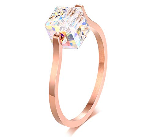 XUANPAI Stainless Steel Spinner Rainbow Cube Diamond Stackable Midi Ring Band for Women Girls,Size 8