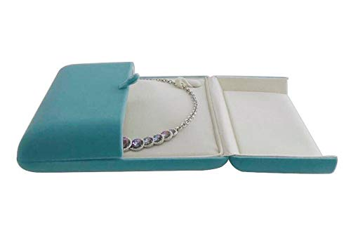Svea Display Stunning Large Necklace Case Storage Aqua Light Blue Velvet Jewelry Box Banquet Necklace Packaging Premium Grade Unique Design Hard Shell Protection Soft Velvet - Diamond Cushion Accent Ring