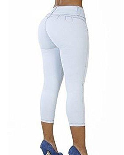 Vaqueros Pantalon Elásticos Jeans Up Push Cropped Skinny Blanco Capri Mujer Y5Zn0BY