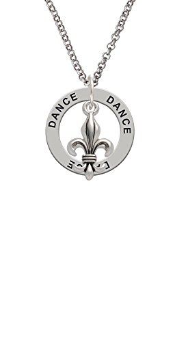 Medium Antiqued Fleur di Lis - Dance Affirmation Ring Necklace