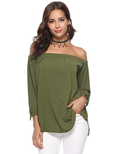 Aibrou Off Shoulder Tops for Women 3/4 Sleeve Elegant Shirts Blouses Army Green