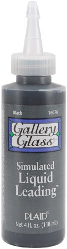 Plaid Gallery Glass Simulated Liquid Leading (4 Ounce), 16076 Classic Black