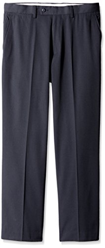 Louis Raphael Men's Poly Rayon Gabardine Flat Front Straight Fit Pant, Navy, - Gabardine Rayon Poly