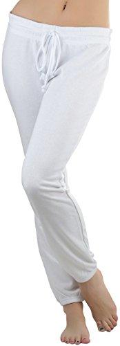 ToBeInStyle Women's Drawstring Waistband Long Soft Sweatpants - White - Medium