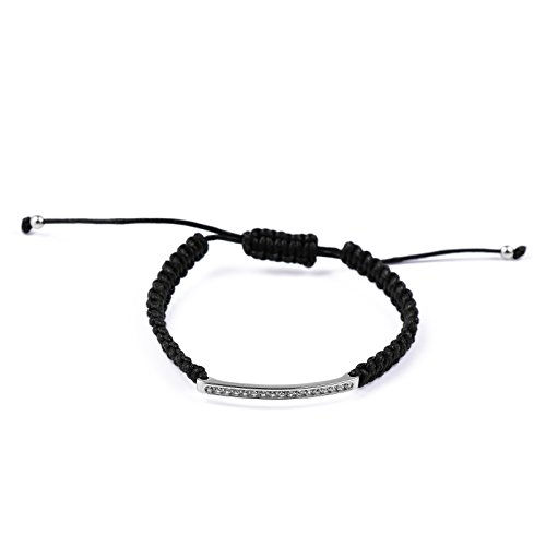blackbox Jewelry Sterling Silver Sparkly Crystal Black Woven Cord Unique Adjustable Bracelet
