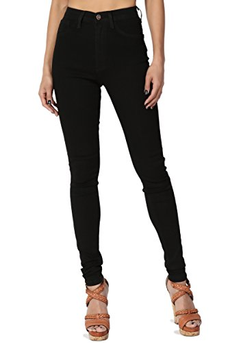Five Pocket Lightweight Jeans (TheMogan Women's Soft & Stretch Denim 5 Pocket High Rise Skinny Jeans Black 13)