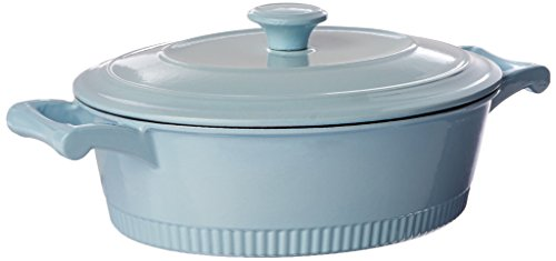 - KitchenAid KCTI40CRGB Traditional Cast Iron Casserole Cookware, 4 quart - Glacier Blue