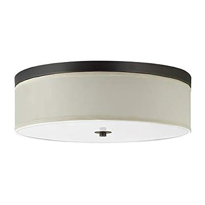 "Occhio 20.5"" Flush Mount Ceiling Light - Bronze w/a Sandstone Fabric Shade - Linea di Liara LL-C253-BRO"