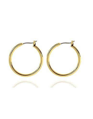 Anne Klein Gold Tone Tube Clip Top Hoop Earrings ()