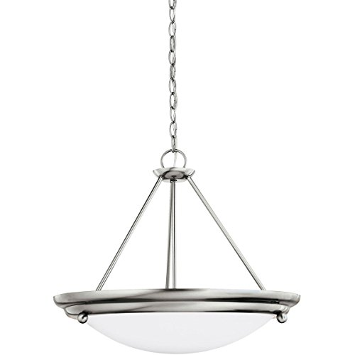 Brushed White Stainless Satin Glass - Sea Gull Lighting 66133-98 Centra Three-Light Pendant, Brushed Stainless Finish with Satin White Glass