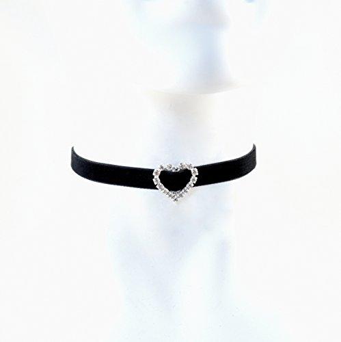 Arthlin Jewelry Heart Rhinestones Diamante Silver Buckle On Black Velvet Choker Necklace, Handmade in the USA
