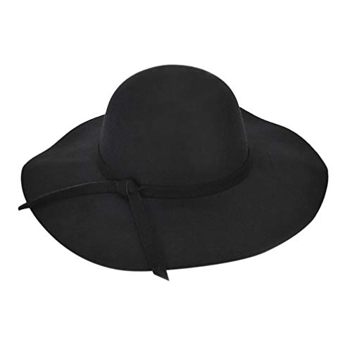 (URIBAKE Fashion Women Ladies Floppy Wide Brim Wool Felt Bowler Beach Hat Sun Cap)