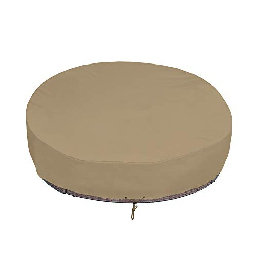 SunPatio Outdoor Daybed Cover 75 Inch, Heavy Duty Waterproof Round Canopy Daybed Cover with Sealed Seam, Patio Furniture Sofa Cover, Durable FadeStop Material, All Weather Protection, Taupe (Furniture Daybed)