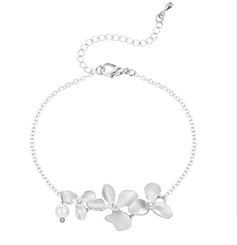 Flower Orchid and Pearl Bracelet - Nature Mothers day Bridesmaid Gift sliv (Orchids Natures)