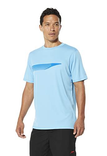 Speedo Graphic Short Sleeve Swim Tee, Ethereal Blue, Large ()