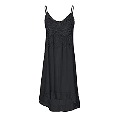 Sunhusing Women's Solid Color Sexy Lace Patchwork Off-Shoulder Strap Long Dress Summer Tassel Cotton Sundress