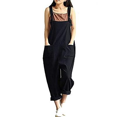 Yeokou Women's Linen Wide Leg Jumpsuit Rompers Overalls Harem Pants Plus Size: Clothing