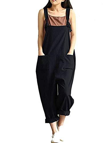 Yeokou Women's Linen Wide Leg Jumpsuit Rompers Overalls Harem Pants Plus Size (Large, Style12Black)