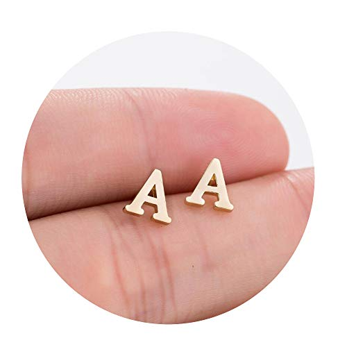 - CAIYCAI Tiny Initial Letter Earrings Personalized Bridesmaids Gift Cute Alphabet Stud Earrings,R,Gold