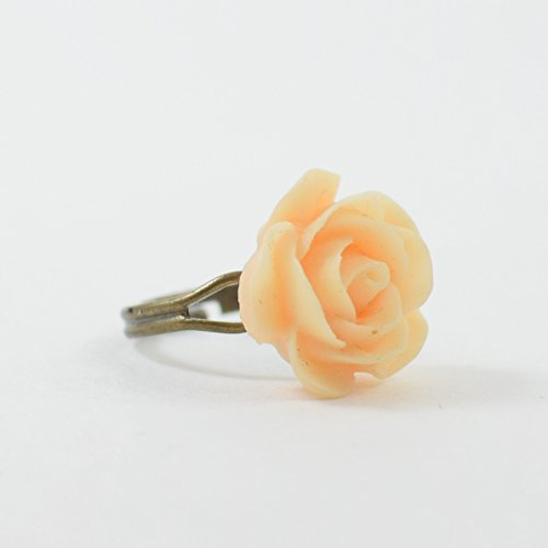 Peach Resin Rose Cocktail Ring