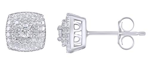 Silver Earrings Diamond Cluster (0.10 Carat (Ctw) Round Cut White Natural Diamond Cluster Stud Earrings In 14k White Gold Over Sterling Silver)