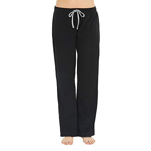 U2SKIIN Womens Cotton Pajama Pants, Comfortable Pant for Lounge, Soft Lightweight Sleep Pj Bottoms for Women Black