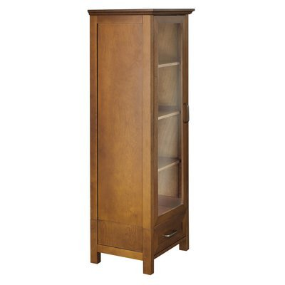 Elegant Practical Linen Tower, Wood Construction, Ample Storage Space, Tempered Glass Door, Oil Oak Finish by Jaxterrific (Image #3)