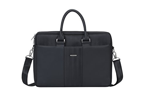 Laptop Quilted Carrying Case (Rivacase 15.6 Inch Laptop Attache Case, Stylish, Slim, Padded, Black)