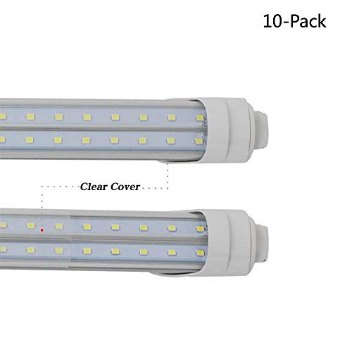 - WeisenLED 60W R17D T8 Bulbs,6 Feet LED Tube Light 6500K Clear Cover V Shape for F72T12/CW/HO Fluorescent Tube Light Building Sign 10Pack