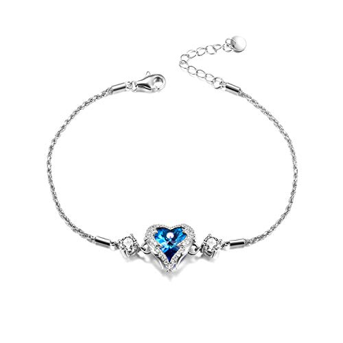 (WINNICACA Mothers Day Bracelet Heart Crystal Bracelet Sterling Silver Heart of Ocean Bracelets for Women Made with Swarovski Crystals)
