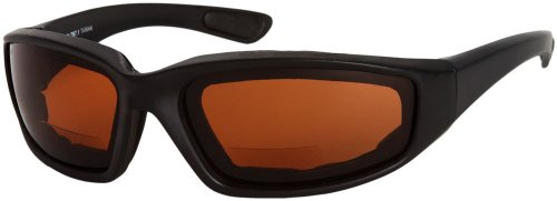Readers.com The Trailblazer Bifocal Driving Reader +1.50 Black with Amber Shatter Resistant Bifocal Driving Sunglasses Sport & Wrap-Around Reading - Blazer Sunglasses