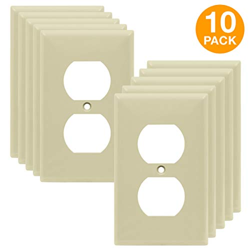 (Duplex Wall Plates Kit by Enerlites 8821-I Home Electrical Outlet Cover, 1-Gang Standard Size, Unbreakable Polycarbonate Material, Ivory- 10 Pack Dual Port Replacement Receptacle Faceplates)