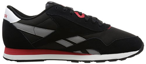Reebok CL Nylon Zapatillas de running, Hombre Negro / Gris / Rojo / Blanco (Black / Coal / Tin Grey / Scarlet / White)