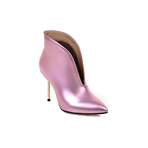 Kaloosh Women's Mature Sexy Glitter Fabric Pointed Toe Stiletto Heel Ankle Boots 1pink