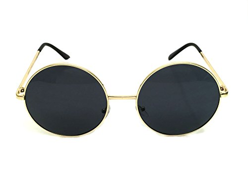 WebDeals - Hippie Retro Super Large Oversized Metal Round Circle Sunglasses Gradient or Solid (Gold, Smoke - Shades Weed