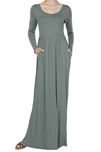 (iliad USA 8016 Women's Long Sleeve Loose Plain Casual Long Maxi Dresses with Pockets Cement)