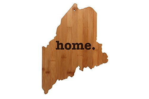 Maine State Shaped Bamboo Wood Cutting Board Engraved home. Personalized For New Family Home Housewarming Wedding Moving Gift