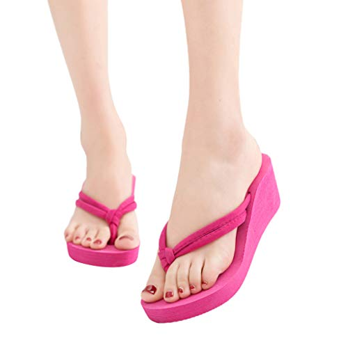 Women's Solid Color Non-Slip Feet Flip-Flops High-Heeled Wedges Beach Sandals,Outsta 2019 Deals! Fashion Shoes Hot Pink