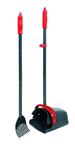 Petmate Clean Response Swivel Bin & Rake Durable Plastic Pooper Scooper Gray/Red