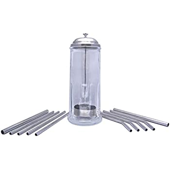 Glass Straw Holder WITH Stainless Steel Straws by plumwood & vine (Stainless Steel, 10 straw set)