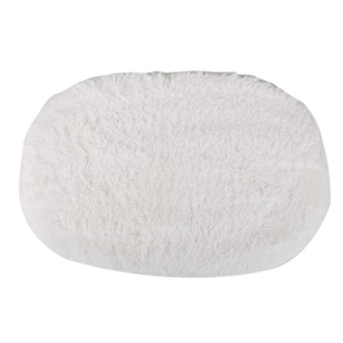 KEANER Lovely Gift Absorption Bath Mat Soft Floor Rug Bedroom Cozy Shaggy Rug Oval Living Room Carpet (White)