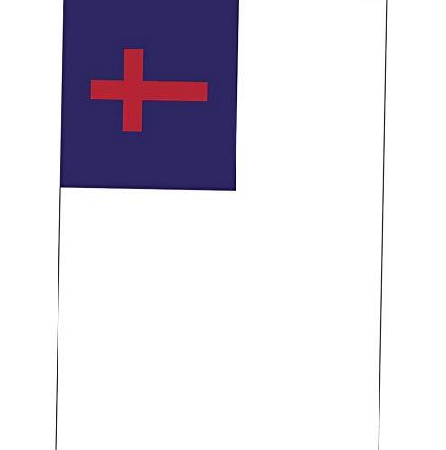 Werrox Christian Red Cross on Blue and White Background 18 x 13 Rectangular Small Garden Flag | Model FLG - 1502 | 13 x 18 ()