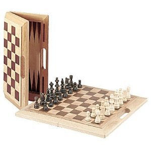 Deluxe Wooden Chess, Checkers & Backgammon Set (Oak) ()
