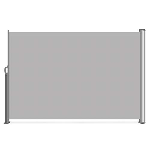 Belleze Folding Retractable Water UV Protection Side Awning Garden Wind Privacy Screen Divider 9.8 x 5.2FT, Grey (Screen Patio Outdoor Rooms)