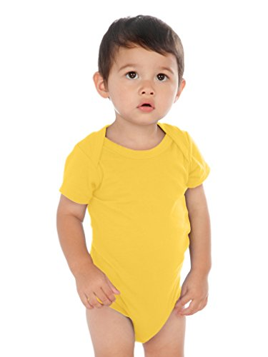 Kavio! Unisex Infants Lap Shoulder Short Sleeve Onesie (Same IJP0492) Yellow 12M ()
