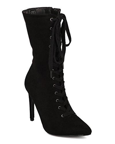 CAPE ROBBIN Women Lace Up Stiletto Boot - Mid Calf Heel Boot - Pointy Toe Boot - HK56 Black Leatherette (Size: (Mid Calf Stiletto Boots)