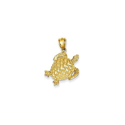 14k Gold Polished Turtle (Roy Rose Jewelry 14K Yellow Gold Solid Polished Open-Backed Turtle Pendant)