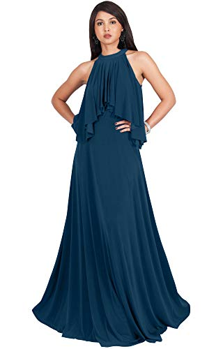 KOH KOH Plus Size Womens Long Sleeveless Halter Neck Flowy Bridesmaid Bridal Cocktail Spring Summer Beach Wedding Party Guest Floor-Length Gown Gowns Maxi Dress Dresses, Blue Teal 3XL 22-24